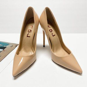 FSJ Patent LeatherPointed Toe Stiletto Heel Pumps